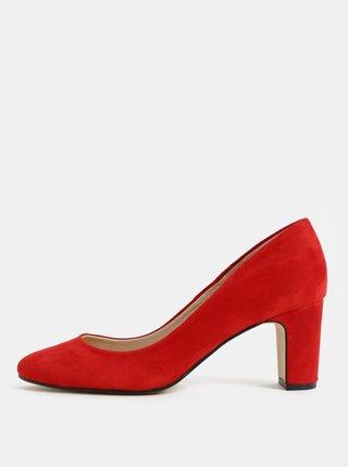 Pantofi rosii din piele intoarsa cu toc stabil OJJU
