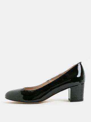 Pantofi negri luciosi din piele naturala cu toc OJJU