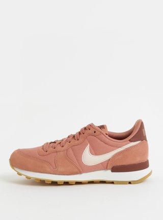 Tenisi de dama roz prafuit din piele intoarsa Nike Internationalist