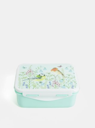 Světle zelený svačinový box s motivem květin  Sass & Belle Garden Birds