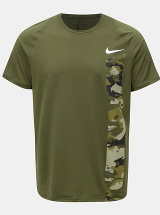 Khaki pánské funkční slim fit tričko s potiskem Nike