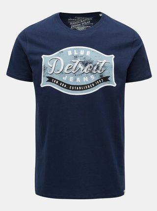 Tricou albastru inchis cu print Shine Original