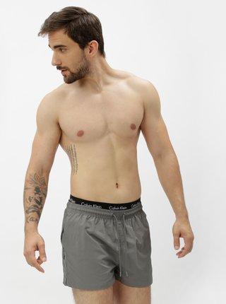 Pantaloni scurti de baie gri cu talie elastica si logo- Calvin Klein Underwear