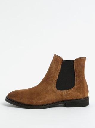Hnědé semišové chelsea boty Selected Femme