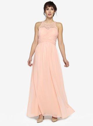 Rochie lunga roz piersica cu dantela si aplicatii decorative - Little Mistress