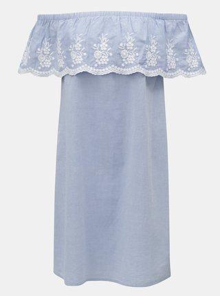 Rochie albastru deschis cu volan si broderie Dorothy Perkins