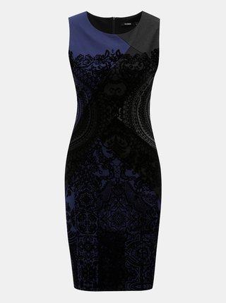 Modro-čierne puzdrové vzorované šaty Desigual
