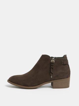 Kaki členkové topánky v semišovej úprave na nízkom podpätku Dorothy Perkins Major