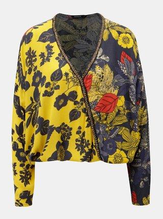 Bluza crop lejera albastru-galben cu print floral si maneci 3/4 Desigual