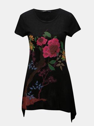 Tricou lung negru cu model floral si tiv asimetric Desigual