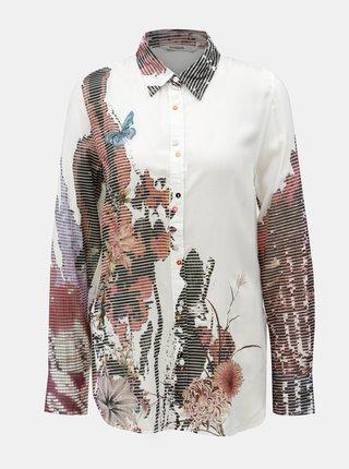 Bílá košile s potiskem a dlouhým rukávem Desigual Fragancy