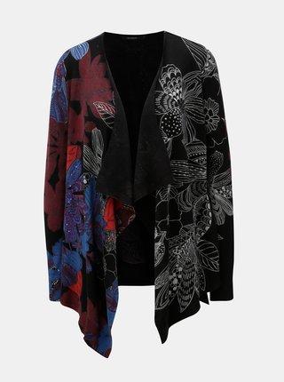 Cardigan negru cu model floral si paiete Desigual Mireia