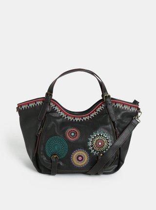 Tmavohnedá koženková prešívaná kabelka s ornamentmi Desigual Siara