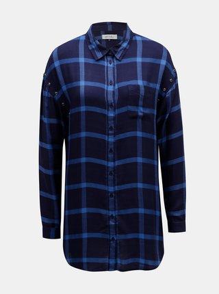 Tmavomodrá károvaná košeľa s predĺženou dĺžkou Blendshe Tobys