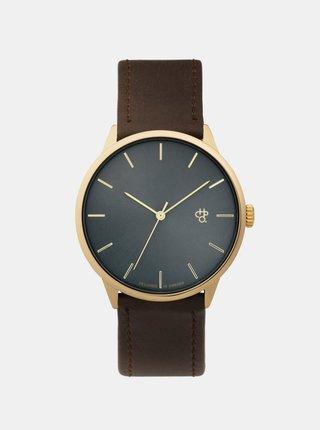 Unisex hodinky s hnedým remienkom z vegánskej kože CHPO Khorshid Gold