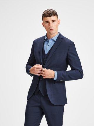 Tmavomodré oblekové sako s prímesou vlny Jack & Jones Laris