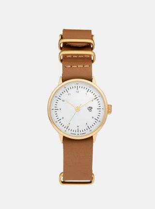 Dámske hodinky v zlatej farbe s hnedým koženým remienkom CHPO Harold Mini Gold
