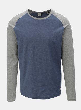 Sivo-modré pánske melírované tričko s dlhým rukávom Jack & Jones