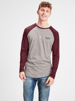 Vínovo-sivé pánske jemne melírované tričko s potlačou Jack & Jones
