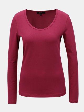 Tmavě růžové basic tričko s dlouhým rukávem Yest