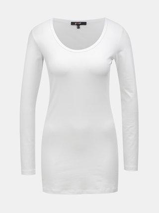 Bílé basic tričko s prodlouženou délkou a dlouhým rukávem Yest