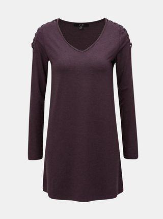 Tmavě fialové tričko s dlouhým rukávem a pásky na ramenou Yest