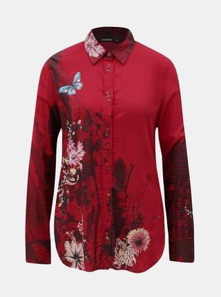Červená košile s potiskem a dlouhým rukávem Desigual Fragancy