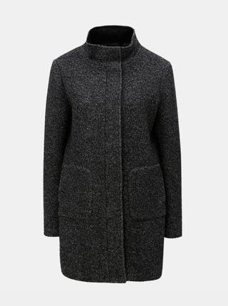 Tmavosivý melírovaný vlnený kabát Yest