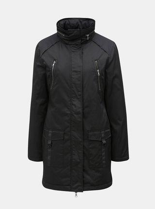 0193bd2c4e Čierny kabát s kapucňou v golieri Yest