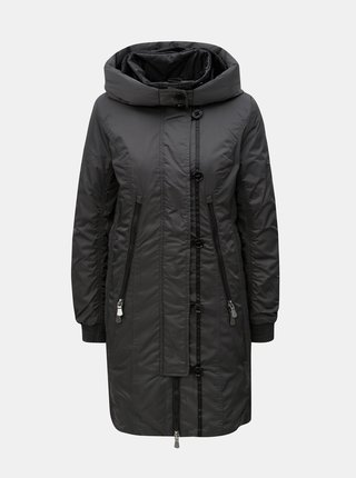 Jacheta de iarna lunga gri inchis cu blana artificiala Yest