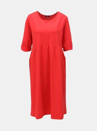 Červené voľné šaty s volánom ZOOT