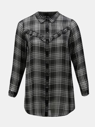Čierna kockovaná košeľa s volánmi Zizzi Caprice