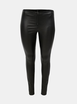 Čierne lesklé nohavice so zipsom Zizzi Autimn