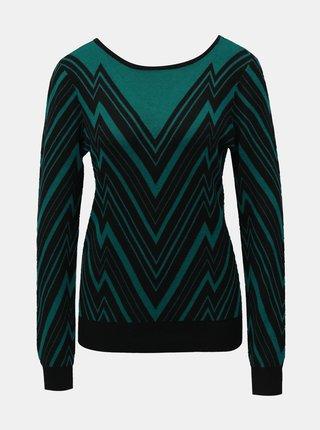 Černo-zelený vzorovaný svetr VERO MODA Zigga