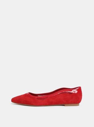 Červené semišové baleríny Dune London