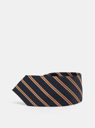Cravata slim oranj-albastru in dungi Selected Homme Valdemar
