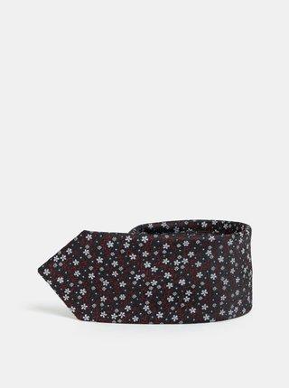Cravata slim florala visiniu-negru Selected Homme Vilhelm