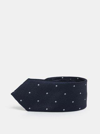 Cravata slim albastru inchis cu model discret Selected Homme Vilhelm