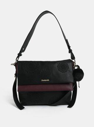 Fialovo-čierna kabelka s výšivkou Desigual Aleida