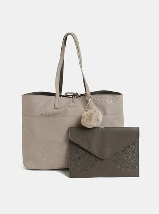 Geanta shopper reversibila maro-crem cu geanta plic Desigual Aleida