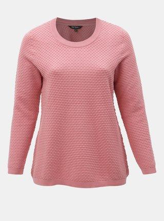 Pulover roz structurat Ulla Popken