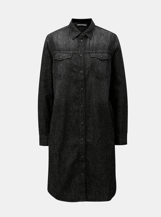 Černé džínové žíhané košilové šaty Lee