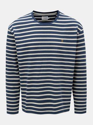 Krémovo-modré pruhované tričko Farah Bain