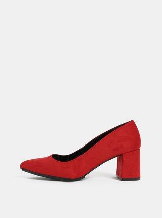 Pantofi rosii cu aspect de piele intoarsa si toc stabil OJJU