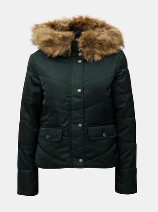 Tmavozelená prešívaná zimná bunda s umelou kožušinkou Noisy May