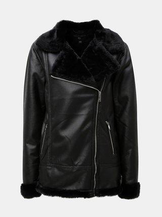 Čierna koženková bunda s kožušinkou Dorothy Perkins Tall