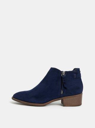 5b4a4a22cf Tmavomodré členkové topánky v semišovej úprave Dorothy Perkins