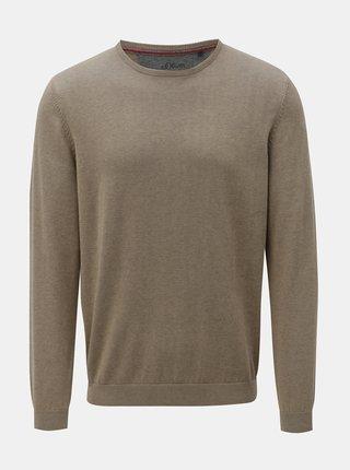 Šedo-béžový pánský lehký svetr s kulatým výstřihem s.Oliver