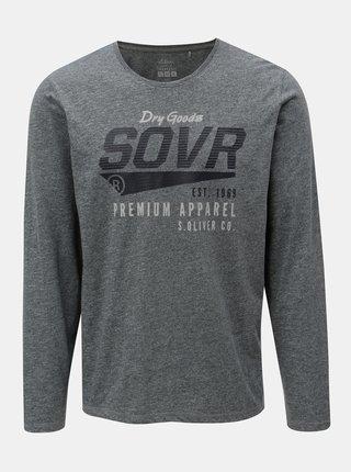Šedé pánské žíhané regular fit tričko s potiskem s.Oliver
