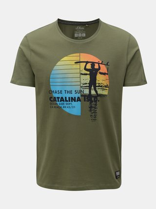 Khaki pánské regular fit tričko s potiskem s.Oliver